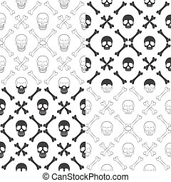 Set of seamless patterns with skull and bones
