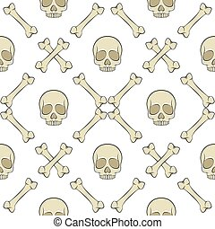 Set of seamless patterns with skull and bones. Vector colored backgrounds.