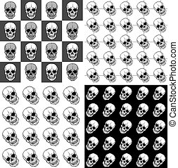 Set of seamless patterns with skulls over black and white backgrounds