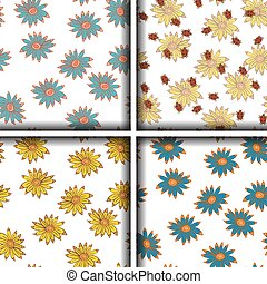 Set of seamless patterns with sunflowers. Vector illustration. Hand drawing.