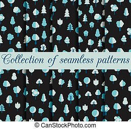 Set of seamless patterns with trees
