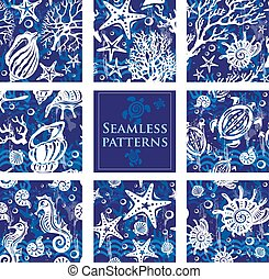 Set of Seamless patterns with underwater sea life