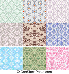 seamless retro background - set of seamless retro background...