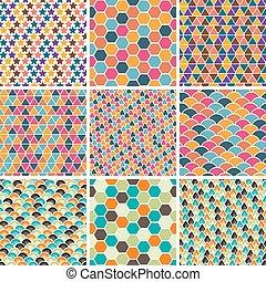 Set of seamless retro geometric pattern. EPS8 vector texture