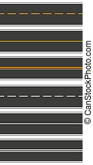 Set of seamless road dimensions on white isolated background. Top view. Set of fragments of a city road for transport illustration. Straight highway infographic templates. Vector