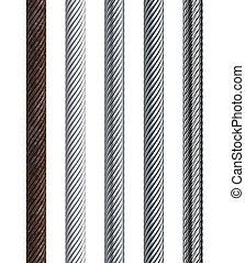 set of seamless steel cable, isolated 3d render