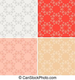 set of seamless textures with vintage elements - vector