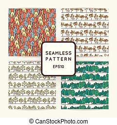 Set of seamless tree pattern. Background vector line...