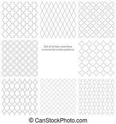 Set of seamless vector ornamental patterns.