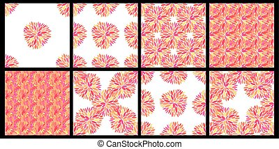 Set of seamless vector patterns with petals