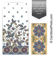 Set of seamless vertical floral design and ornate border. The border can be used as an independent seamless pattern. Use fabric for dresses, clothing, bedding, web design, wallpaper and other