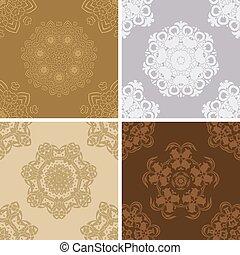 Set of  seamless vintage pattern.