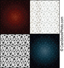 Set of seamless wallpaper pattern. Vector