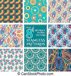 Set of Seamless with abstract colorful floral patterns.