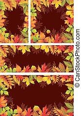 Set of Seasonal banners of autumnal leaves