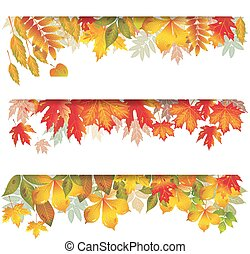 Seasonal banners of autumnal leaves - Set of Seasonal ...