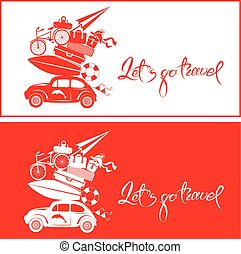 Set of Seasonal cards with small and cute retro travel car with luggage, red and white colors. Calligraphic handwritten text Let`s go travel. Element for summer greeting cards, posters and t-shirts printing.