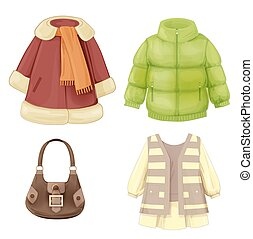set of seasonal clothes for girls. Coat, dress, padded parka...