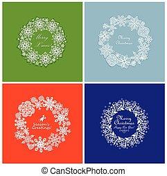 Set of seasonal greeting with xmas snowflakes wreath