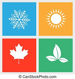 Set of seasons icons, winter, spring, summer, autumn. Vector illustration