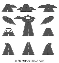 Set of sections of road and the roundabout intersections in different perspective. illustration