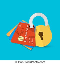 Set of secure credit card - Secure payment. Set of secure...