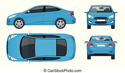 Set of Sedan Cars. Compact Hybrid Vehicle. Eco-friendly hi-tech auto. Isolated car, template for branding and advertising. View front, rear, side, top. Vector illustration