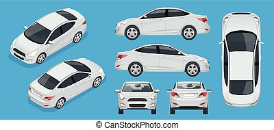 Set of Sedan Cars. Compact Hybrid Vehicle. Eco-friendly hi-tech auto. Isolated car, template for branding, advertising. Front, rear , side, top and isometry front and back