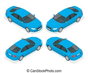 Set of Sedan Cars. Isolated car, template for branding and advertising. Isometric front and back