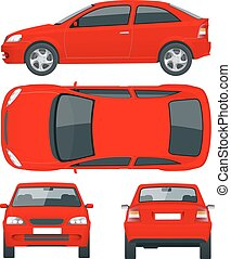 Set of Sedan Cars. Isolated car, template for car branding and advertising. Front, rear , side, top Change the color in one click All elements in groups on separate layers