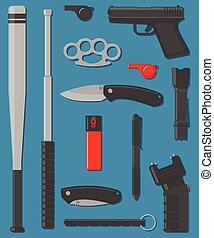 Set of self defense and street weapon. Vector illustration