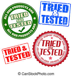 Set of self tried and tested stamps and labels