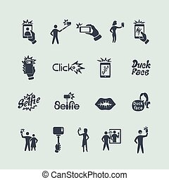 Set of selfie icons
