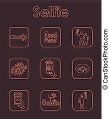 Set of selfie simple icons