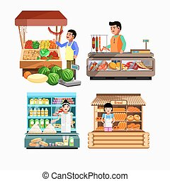 Set of sellers at the counter and stall. Collection vector shops