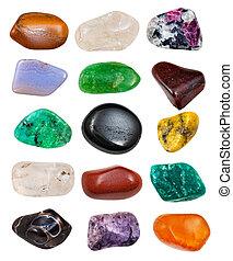 set of semi-precious stones isolated on white background