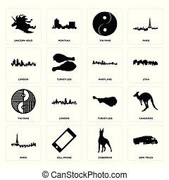 Set of semi truck, doberman, paris, turkey leg, yin yang, maryland, london, unicorn head icons