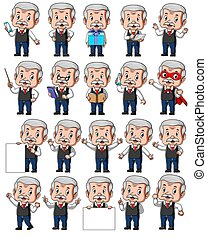 Set of senior businessman with different poses of illustration