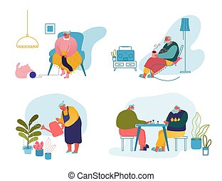 Set of Senior People Activity and Spare Time. Old Men and Women Gardening Hobby, Knitting, Playing Chess and Listening Radio Elderly Male and Female Characters Leisure Cartoon Flat Vector Illustration