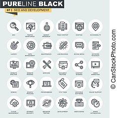 Set of SEO thin line web icons