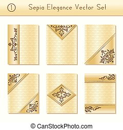Set of sepia brochure designs