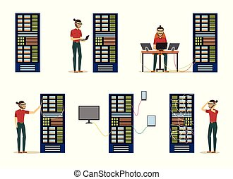 Set of server room images with data center and young system administrator.
