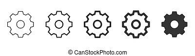 set of settings icons isolated on white background