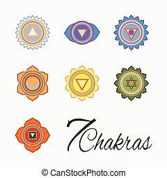Set of seven chakras icons. Yoga, meditation and energy centers vector simbols.
