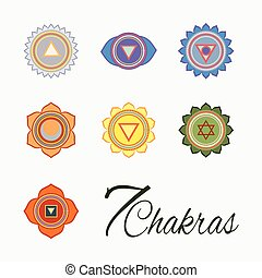 Set of seven chakras icons