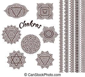 Set of seven chakras. Oriental orna