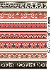 Set of seven decorative borders