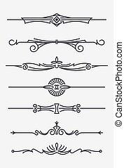 Set of seven decorative text dividers