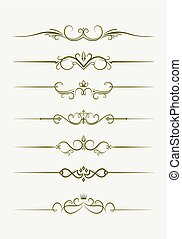 Set of seven decorative vintage style text dividers. Vector illustration for your design.