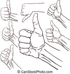 Set of seven hands